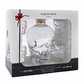 Crystal Head Gift Pack With 4 Shot Glasses
