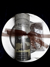 Balvenie 14 Year Old - The Week of Peat - Silver Glitter Charger Plate - Gift Pack