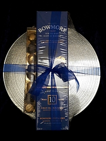 Bowmore Tempest 10 Year Old - Batch 6 - Round Mirror Glass Glitter Sparkle Coaster - Gift Pack